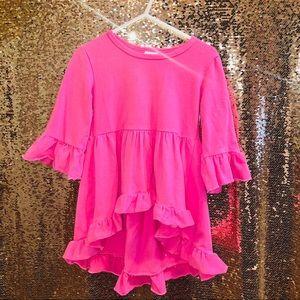 Bubblegum pink ruffled tunic/ shirt